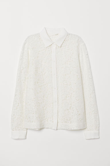 Lace blouse - White - Ladies | H&M CN