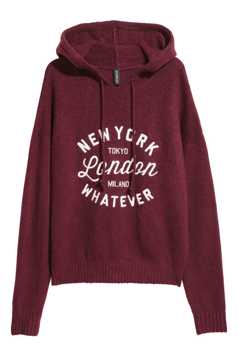 Knitted hooded jumper - Burgundy - Ladies | H&M