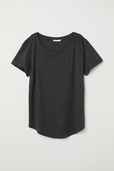 Slub jersey T-shirt - Dark grey marl - Ladies | H&M