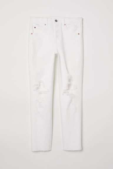 Slim High Cropped Jeans - 白色牛仔布 -  | H&M CN