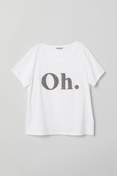 H&M+ T-shirt with a motif - White/Oh. - Ladies | H&M CN