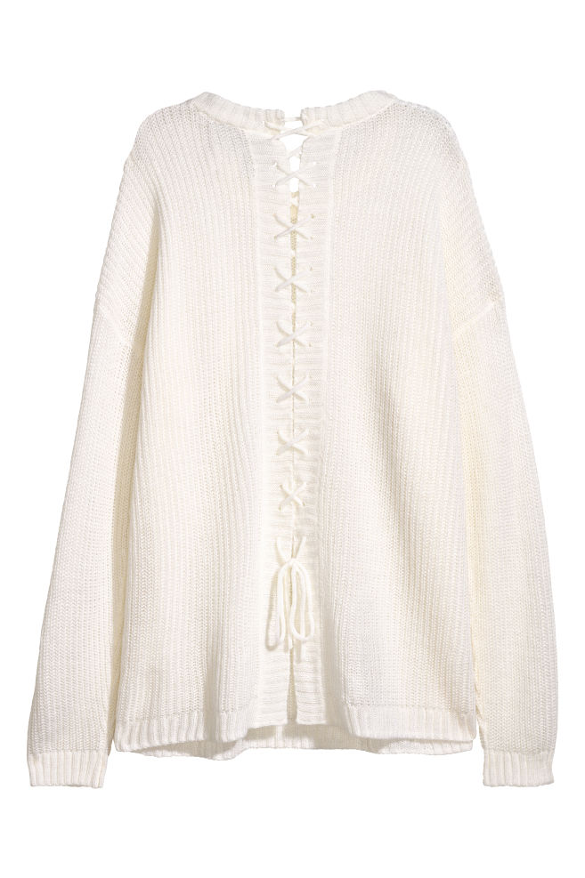 d9d87e9b80c7 Knitted jumper with lacing - White -