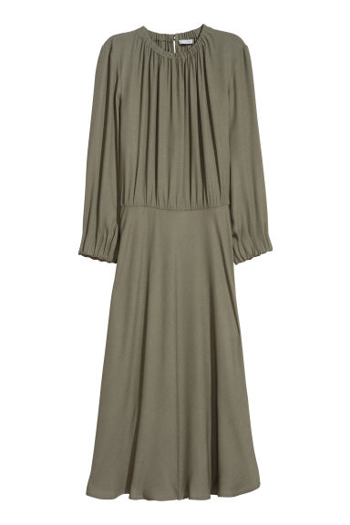 Crêpe dress - Khaki green -  | H&M