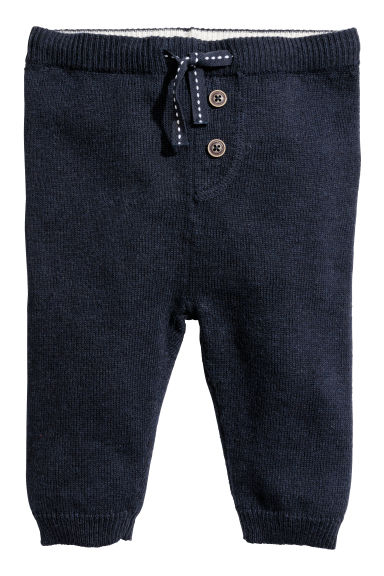 Knitted trousers - Dark blue - Kids | H&M