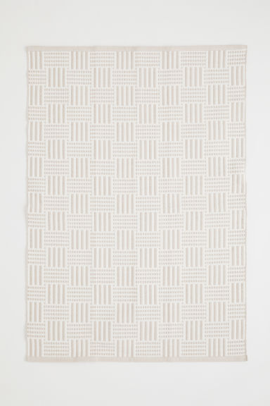 jacquardgeweven mat - Beige/wit - HOME | H&M BE