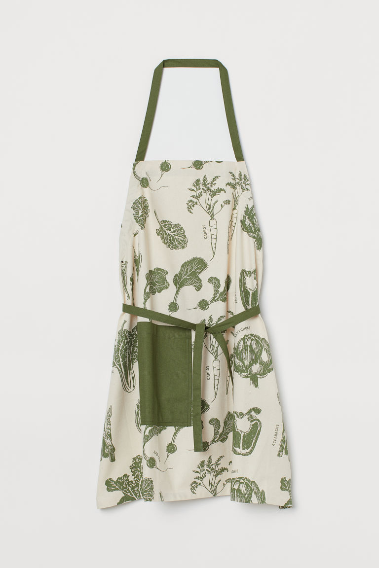 Cotton apron - Natural white/Green - Home All | H&M GB