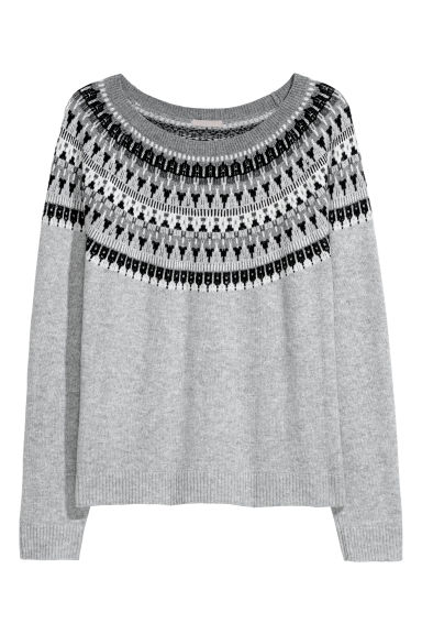 H&M+ Jacquard-knit jumper - Light grey/Glittery - Ladies | H&M CN