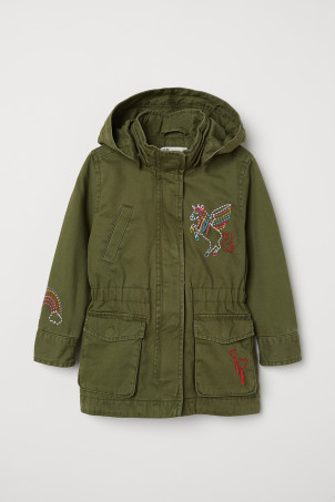 Parka with embroidery