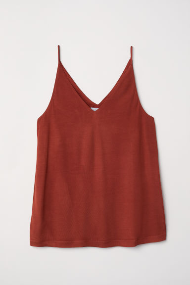 V-neck Top - Dark rust red - Ladies | H&M US