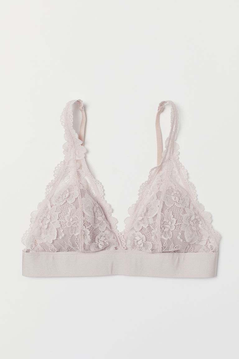 Non-wired lace bra - Powder pink - Ladies | H&M CN