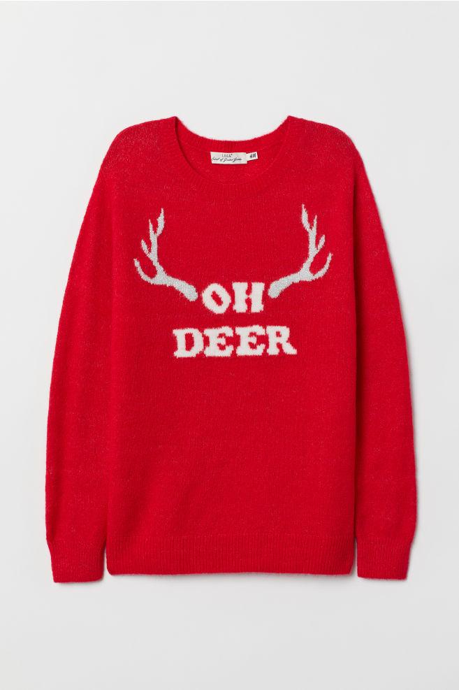 Trui Rood.Fijngebreide Trui Rood Oh Deer Dames H M Be