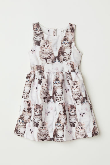 Sleeveless dress - White/Cats -  | H&M