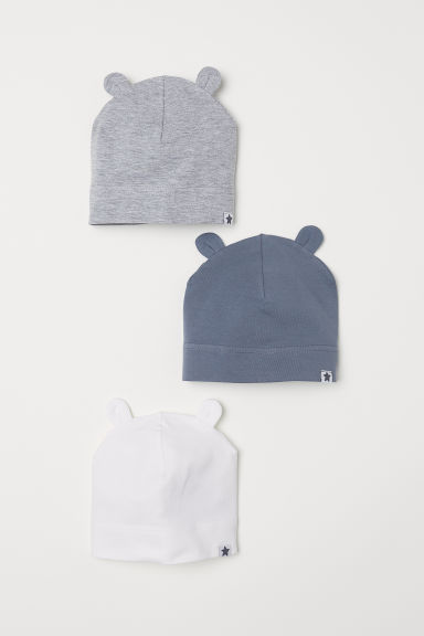 3-pack jersey hats - White/Ears - Kids | H&M