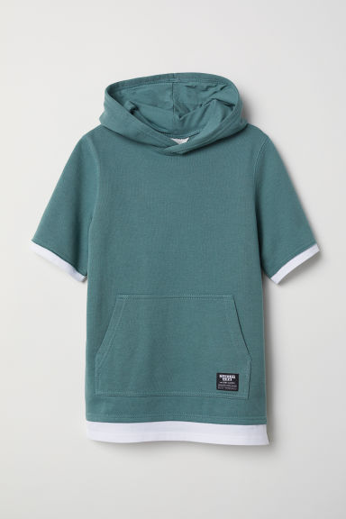 Short-sleeved hooded top - Light khaki green - Kids | H&M CN