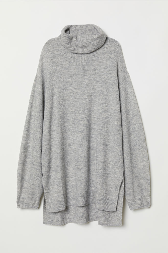 3220192cd61ad6 Knitted polo-neck jumper - Light grey marl - Ladies | H&M ...