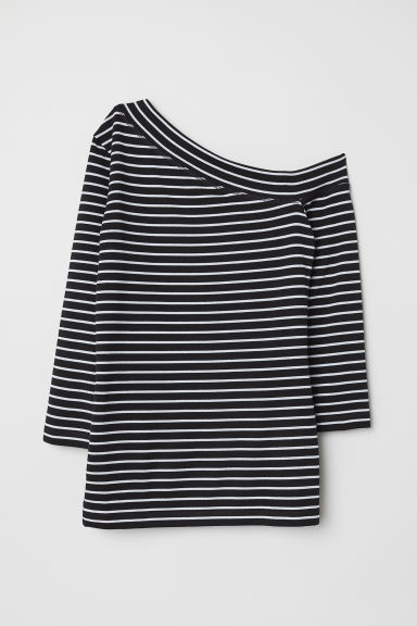 One-shoulder top - Black/White striped - Ladies | H&M