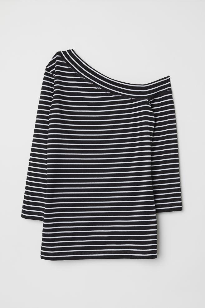 9f06ac1dc2c One-shoulder Top - Black/white striped - Ladies   H&M ...