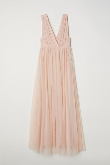 Long mesh dress - Powder pink - Ladies | H&M CN