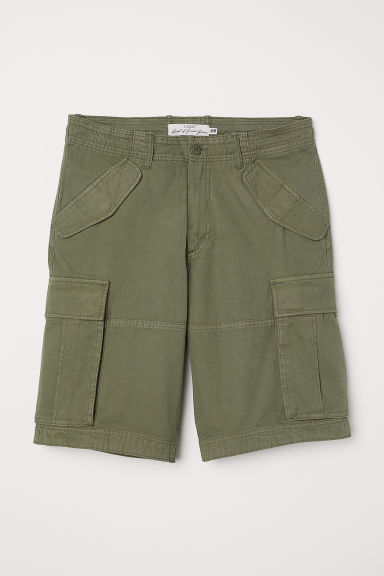 Cotton twill cargo shorts - Khaki green -  | H&M