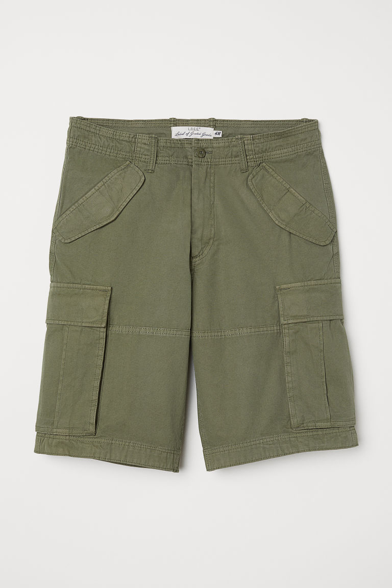 Cotton twill cargo shorts - Khaki green - Men | H&M GB
