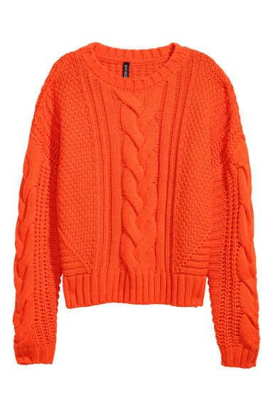 Cable-knit jumper - Orange - Ladies | H&M GB