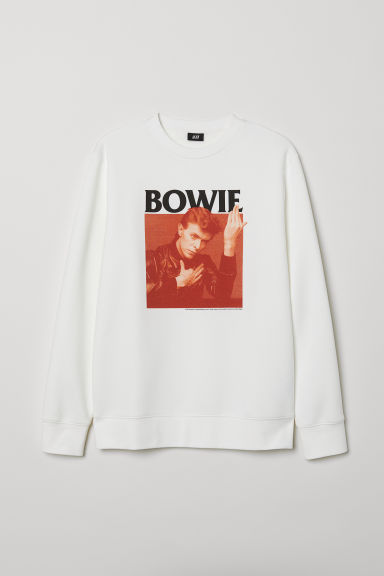 Sweatshirt with embroidery - White/Bowie - Men | H&M