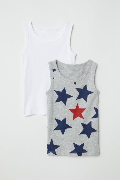2-pack vest tops - Light grey/Stars - Kids | H&M CN