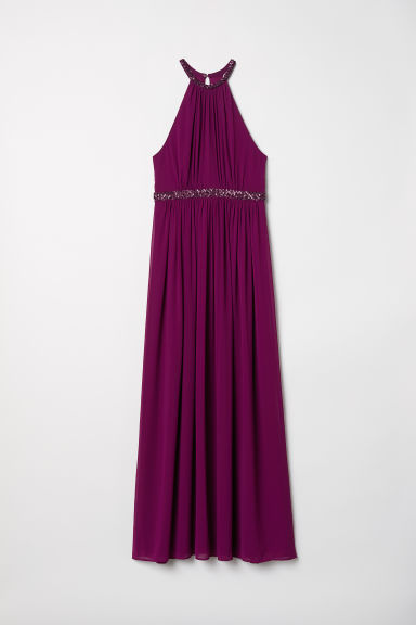Long chiffon dress - Dark pink - Ladies | H&M