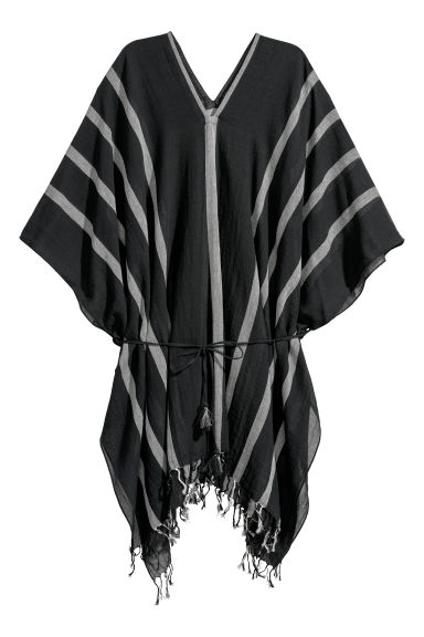 Cotton poncho - Black -  | H&M