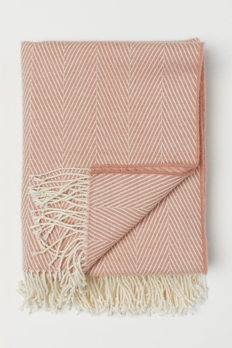 Wool-blend blanket - Apricot - Home All | H&M CN