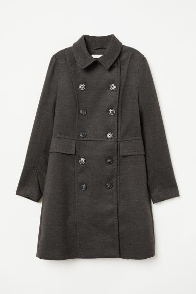 Double-breasted coat - Dark grey marl - Ladies | H&M CN