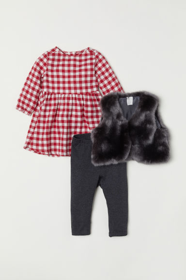 3-piece set - Red checked/Grey - Kids | H&M