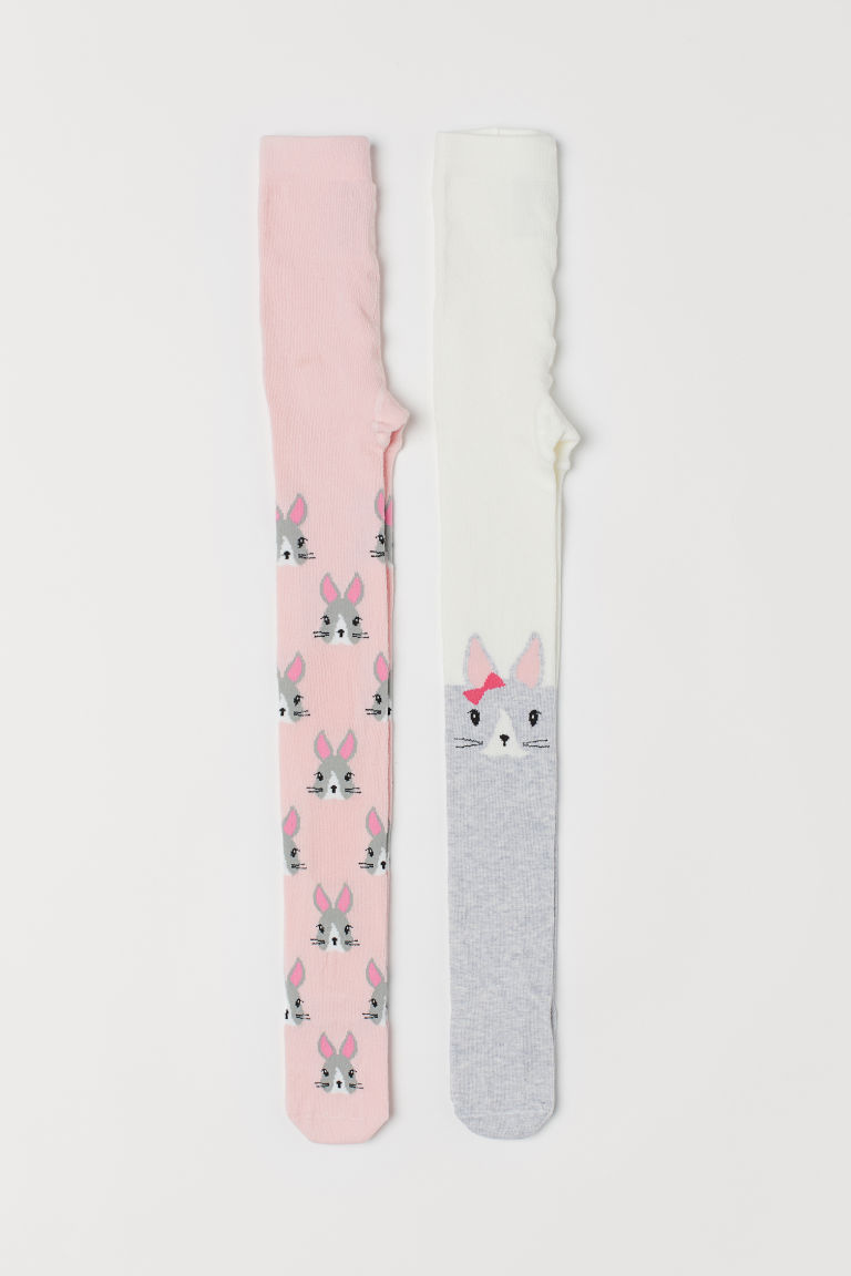 2-pack fine-knit tights - Light pink/Rabbits - Kids | H&M
