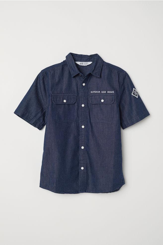 0d2b37e63493 Kortermet skjorte - Mørk blå - BARN