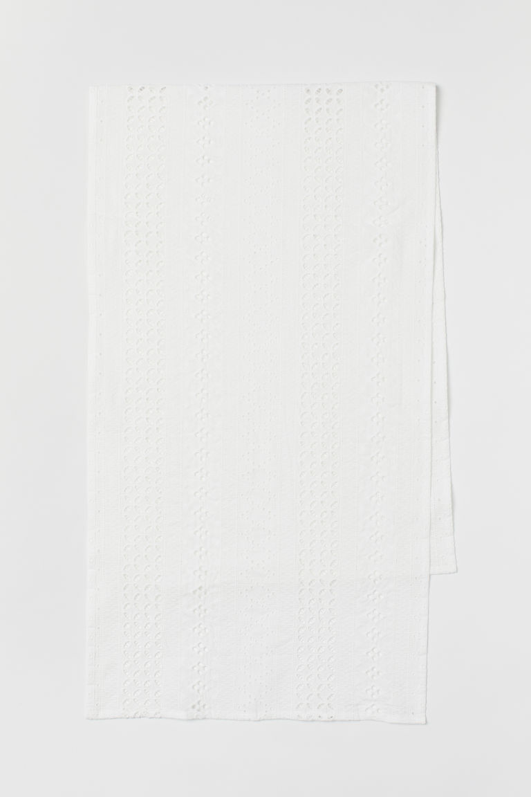 Runner with broderie anglaise - White - Home All | H&M CN