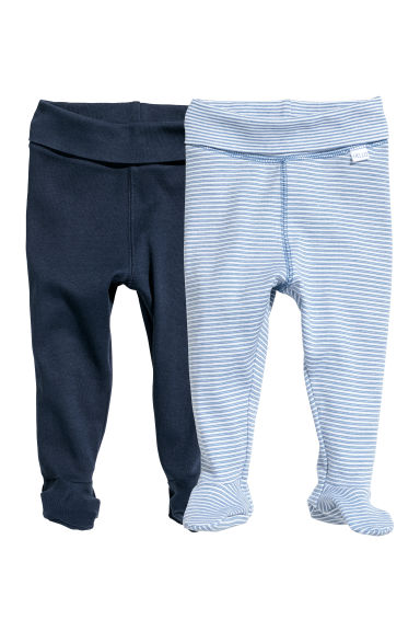 2-pack trousers with feet - Dark blue/Striped - Kids | H&M
