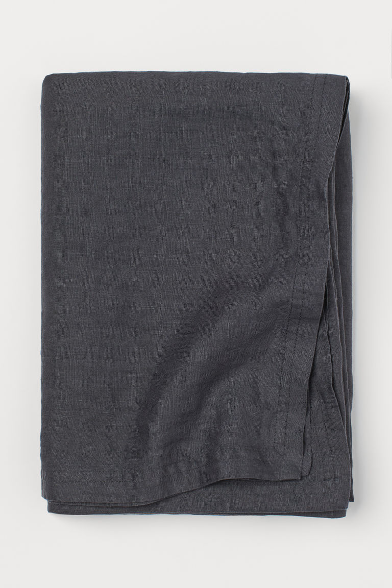 Washed linen tablecloth - Dark grey - Home All | H&M CN