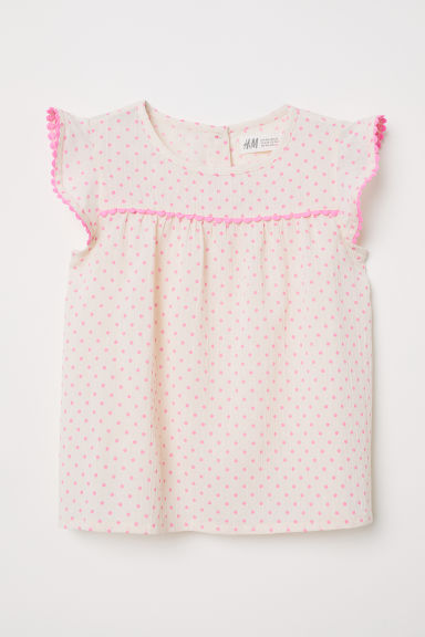 Blouse with lace trims - Powder pink/Pink spotted - Kids | H&M