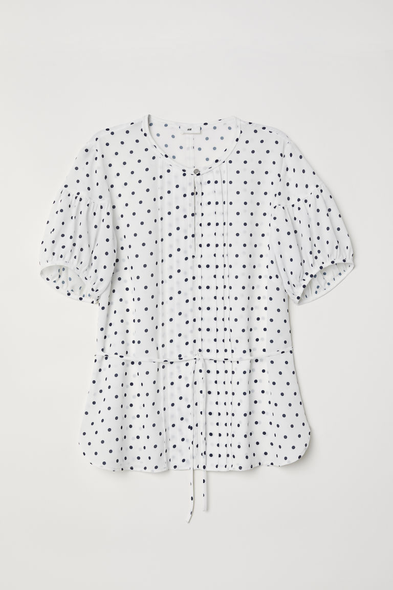 Puff-sleeved blouse - White/Blue spotted - Ladies | H&M