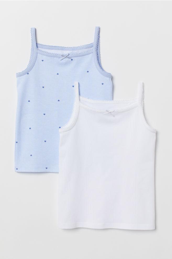 8eabf082845238 2-pack Jersey Tank Tops - Light blue hearts - Kids