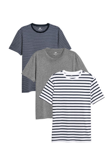 3-pack T-shirts Regular Fit - Dark grey marl - Men | H&M