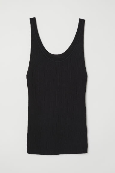 Ribbed top - Black - Ladies | H&M CN