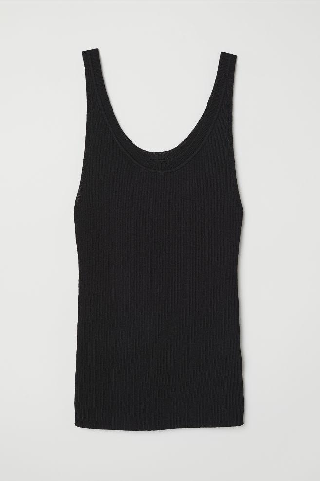f1d65ff233905c Ribbed Top - Black - Ladies | H&M ...