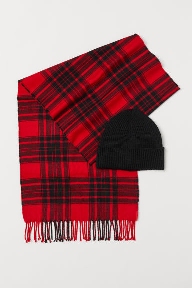 Hat and scarf - Red/Dark blue -  | H&M