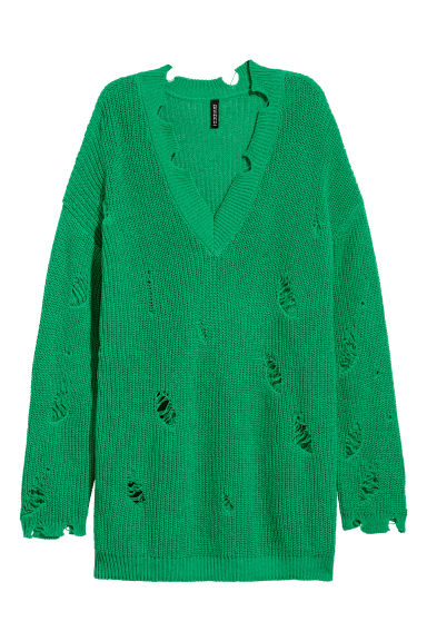 Trashed jumper - Bright green -  | H&M CN