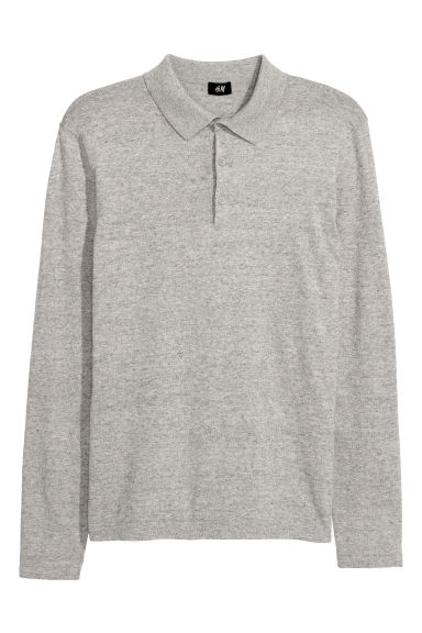 Fine-knit jumper with a collar - Light grey marl - Men | H&M