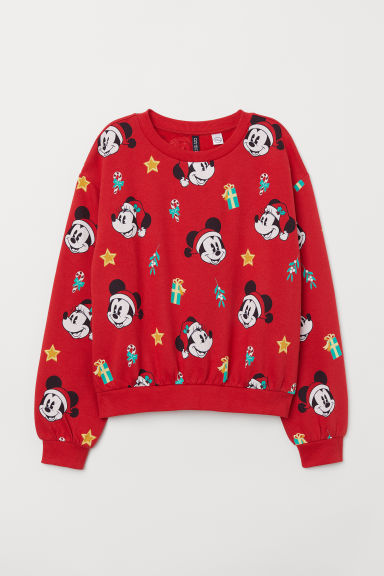 H&M+ Printed sweatshirt - Red/Mickey Mouse - Ladies | H&M