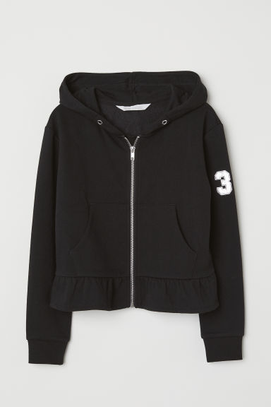 Hooded jacket with a flounce - Black -  | H&M