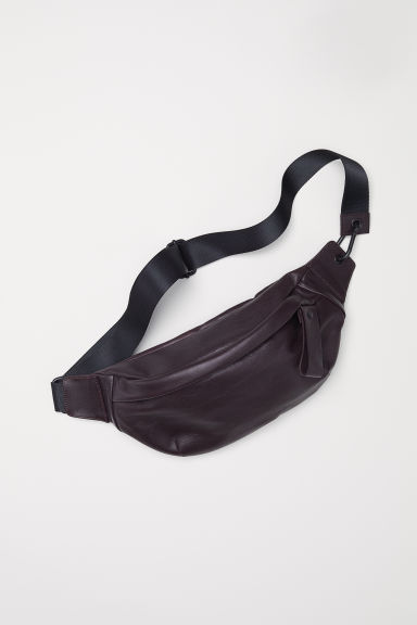 Leather waist bag - Dark plum - Men | H&M
