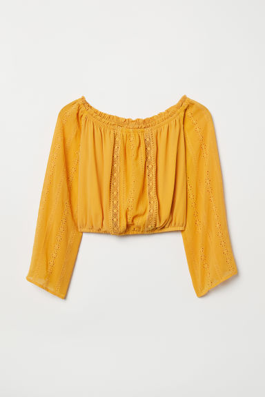 Short off-the-shoulder blouse - Dark yellow -  | H&M CN